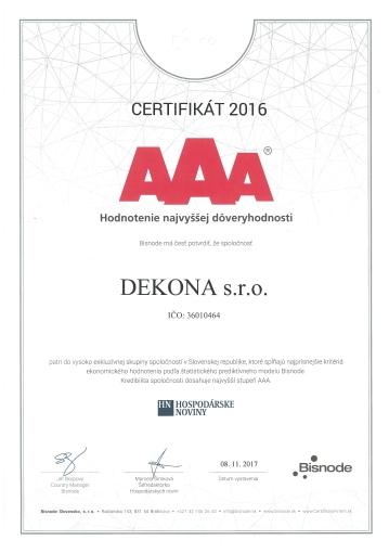 Dekona AAA certifikát