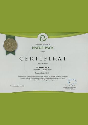 DEKONA Natur-Pack certifikát